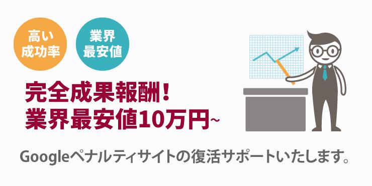 完全成果報酬!業界最安値10万円~ Googleペナルティサイトの復活サポートいたします