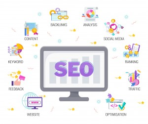 Seo banner. Search Engine Optimization. Site in search results for keywords on the Internet. Digital marketing. Inbound marketing. Search traffic, ranking. Customer feedback. Flat vector illustration.